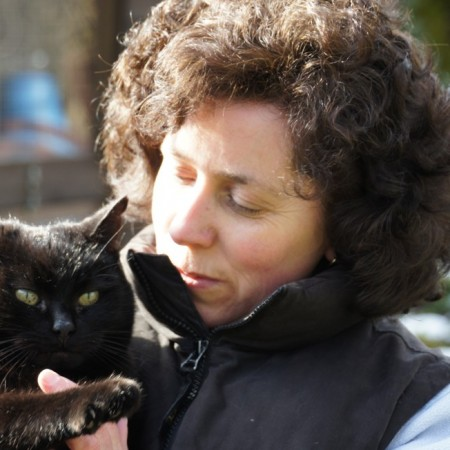 Sue loving her own Cat at Toton Cattery